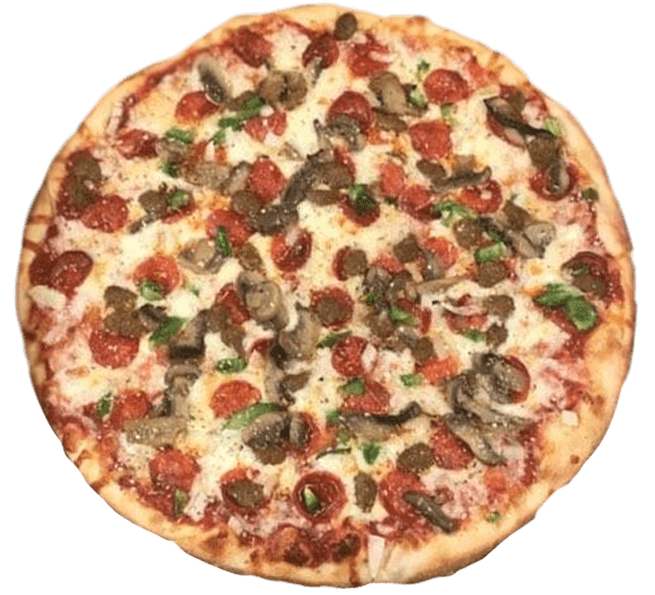 Pizza with sliced tomatoes and mushrooms